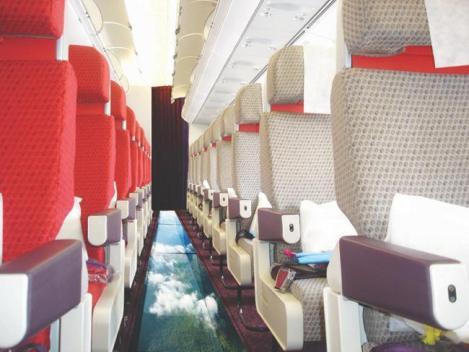 O avião da Virgin Atlantic com chão de vidro.
